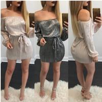 Wholesale Casual Night Long Dress - New 2017 Summer Women Long Sleeve Slash Neck Shiny Dress Sexy Black Rose Gold Off Shoulder Night Club Party Mini Glitter Dress