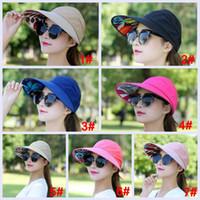 disket şapka çiçekleri toptan satış-Moda Kadınlar Geniş Geniş Brim Disket Yaz Plaj SunHat çiçek Kap Kadınlar Için Yaz Şapkalar moda kap
