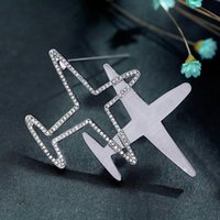 Wholesale Three Airplane - Wholesale- Accessories wild trend airplane brooch Japanese and Korean fashion three-dimensional letter collar pin brooch 1097