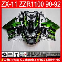 zzr carenados verde al por mayor-8Regalos 23Colores para KAWASAKI NINJA ZX11 ZX11R 90 91 92 ZZR 1100 21HM11 llamas verdes ZX 11 11R ZZR1100 ZX-11R ZX-11 1990 1991 1992 Carenado