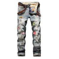 Uomini Slim Straight Pantaloni Jeans Badge Jeans Ripped Jeans e Cartone Old Style Jeans Personality