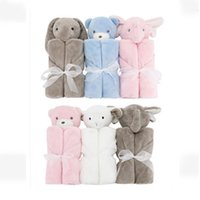 Spring/Autumn black and white soft toy - Baby Blankets x76cm Plush Gift For Newborn Baby Soft Warm Coral Fleece Animal Toy Head Blue Bear Bedding And Swaddle