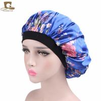 Wholesale Adult Satin Night - Cheap 2017 new fashion Luxury Wide Band Satin Bonnet Cap comfortable night sleep hat hair loss cap women hat cap turbante