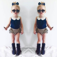 Wholesale Girls Navy Stripe Suits - Ins Navy baby Suit Girls Clothes lace neck Vest Tops +stripe shorts Bloomers 2pcs sets Children Outfit Toddler Clothing Infant Wear A619