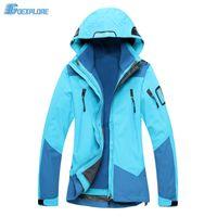 Wholesale Warmest Womens Ski Jacket - Wholesale- Dropshipping winter female 3in1 Double Layer windproof warm Jacket Climbing hiking outdoor ski waterproof jacket for womens