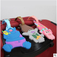 Tag cartoon suitcase - Trolls Suitcase Luggage Tag Cartoon PVC ID Address Holder Baggage Label Silicone Identifier Travel Accessories DHL