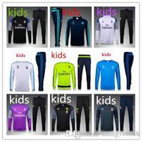 Wholesale Boys Tracksuit Zipper - 2016 2017 real madrid boys Tracksuits jackets top quality Training suit BENZEMA JAMES BALE RONALDO kids football Tracksuits