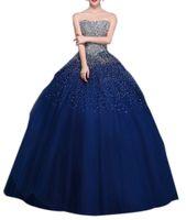 ingrosso i vestiti di cristallo bling aprono le spalle-New Fashion 2018 Donne Quinceanera Abiti Bling Bling Liste Crystal Star Senza Bretelle Abiti Debuttanti Sexy Aperto Indietro Lace Up Dress per Prom