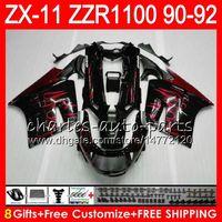 Wholesale Gray Ninja - 8Gifts 23Colors For KAWASAKI NINJA ZX11 ZX11R 90 91 92 ZZR 1100 21HM19 ZX 11 11R ZZR1100 red flames ZX-11R ZX-11 1990 1991 1992 Fairing Kit