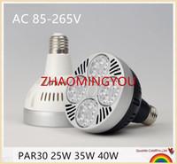 parlak spot ışık ampulleri toptan satış-YON 10 ADET PAR30 E27 LED Spot Aşağı Işık 25 W 35 W 40 W Süper Parlak Led Spot Ampul AC110-265V Parça Lamba Ampul Ev Dekor