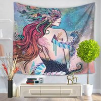 Wholesale Patterned Table Cloth - Home Decorative Wall Hanging Carpet Tapestry 130x150cm Rectangle Bedspread Cat Mermaid Bear Wolf Jellyfish Pattern Table Cloth Yoga Mat