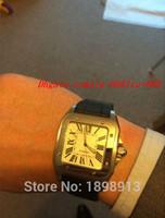 siyah kare saatler toptan satış-Lüks Saatler Kol Yeni erkek Kuvars İzle Siyah Deri Kayış Orijinal Toka Kare Arama Erkekler Saatler