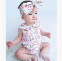 Wholesale Bohemian Jumpsuits - Baby girls sets Toddler kids floral printed doll collar Jumpsuit+Bowknot hairband 2pcs suits princess baby girls rompers kids clothing G1363