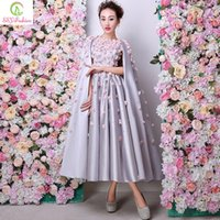 Wholesale Grey Evening Gown Jacket - Sexy Formal Luxury Satin Grey Appliques Flowers Evening Dresses with Wrap Ankle-length Party Prom Gowns Bridal Banquet Evening Wear Dress
