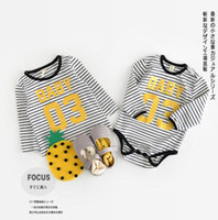 Wholesale Baby Brother Shirts - INS New Arrivals baby kids sets climbing romper o-neck short sleeve stripped print baby kids 100% cotton sister brother romper T shirt