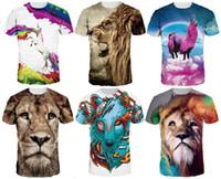 Wholesale T Shirt Plus Size Tiger - 2017 Fashion Summer Men 3D Animal Lion Tiger Horse Print T-shirt Street Wear Tee Plus Size Short Sleeves O-neck Tops