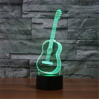 Wholesale Desktop Lamps - Wholesale- Six Strings Guitar Bedroom LED Desktop Table Lamp Christmas USB Valentines Day Birthday Gift 3D Touch Button Night Light-TD208