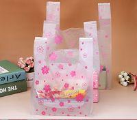 Wholesale Portable Flower Shop - Pink Flower High Quality Portable 100pcs Supermarket Lovely Vest Plastic Carrier Shopping Hand Bag Packaging Bags