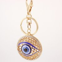 Wholesale Evil Eye Key Ring - Metal Crystal Evil Eye Key Ring Unisex Keyring Car Keychain Wedding Party Favor and Gifts DHL Free Shipping