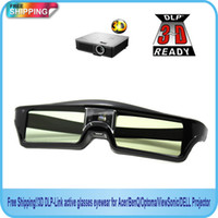 Wholesale Wholesale Optoma Projectors - Wholesale- 2014new 3D DLP-Link active glasses eyewear for Acer BenQ Optoma ViewSonic DELL Projector Free Shipping!