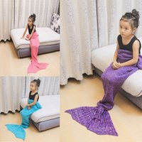 Wholesale Children Quilt Covers - 90cmx50cm children baby kid Mermaid tail Blankets Swaddling knitting bed sleeping bags keep warm Hight-qulity fashion 2016