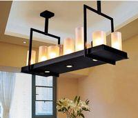 Wholesale Works Suspension - evin Reilly Altar Modern Pendant Lamp Remote Control Chandelier Candle Light Fixture Suspension Lamp Rectangular Wrought Iron Pendant Light