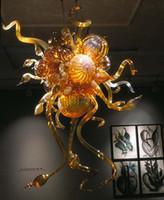 ingrosso lampadari artistici di vetro-Modern Amber Colour Artistic Design Artigianato in vetro di Murano New Style Glass Chandelier Gallery Coffee Store Living Room Chandeliers