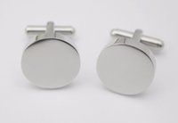 Wholesale plating thickness - 4mm thickness round cufflinks Custom Your logo Design Plain Silver Color Round Cufflinks Stainless Steel Jewelry For Men Women's Gifts