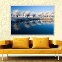 Wholesale Lake Framed - YGS-504 DIY Full 5D Diamond Embroider The lake Round Diamond Painting Cross Stitch Kits Diamond Mosaic home Decoration