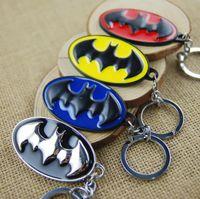 Wholesale Cool Car Hanging Accessories - Batman 4 Colors Oval Bat Logo Metal Pendant Keychain Cool Pop Film Comics Accessories Key Rings Cheap Gift Retail Wholesale