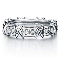 x geformte schmucksachen großhandel-Top Marke Stil X Form Synthetische Diamant Frauen Hochzeit Ring Sterling Silber Schmuck Perfekte Jahrestag Geschenk Für Sie