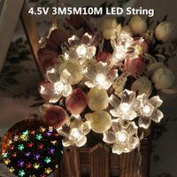 outdoor led dekorative baum lichter großhandel-Wholesale-Led String Batteriebetriebene Urlaub Beleuchtung Weihnachten 4.5V 3M5M10M FairyLights Flower Blossom Dekorative Outdoor Tree Party