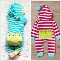 Wholesale Winter Bodysuits For Babies - New Baby Striped Rompers Jumpsuits Bodysuits For Babies Cotton Long Sleeve Jumpsuits With Hooded Infants Toddlers One-piece Rompers For 0-2T