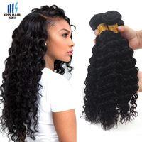 Wholesale Deep Curly Bundle Hair - 3 Pcs Deep Wave Brazilian Virgin Hair Weave Bundles Grade 7A Deep Curly Peruvian Mongolian Malaysian Indian Human Hair Extensions
