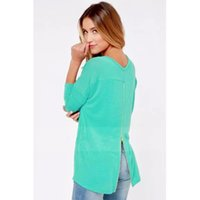 Wholesale Woman Clothed Back - Fashion Spring Autumn T shirt 2016 New Sexy Women Clothing Back Zipper Long Sleeve O-neck Casual Tops Tee Solid Loose Blusas