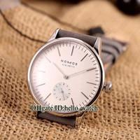 negócios automáticos venda por atacado-Cheap Qualidade NOMOS GLASHUTTE 324 Mecânico Automático 40mm Branco Dial Mens Watch Casual Assista Pulseira De Couro Novos Relógios de Negócios
