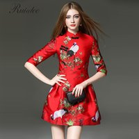 Wholesale Sexy Silk Cheongsam Red - New clothes wear holiday party red traditional Chinese cheongsam sexy lady jacquard tattoo high waist puff pants SZWL151244