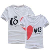Wholesale Lover Clothes Couples - Wholesale-Lovers T Shirt For Couples And Lovers Clothes Lovers tshirt Summer Shirt Men & Women Heart Love T-shirts Shape Shirt Clothes