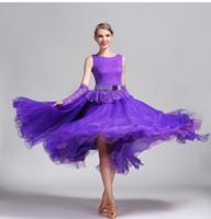 Wholesale Diamond Dancewear - Women Dance Dress Standard Ballroom Competition Dresses Costumes For Women Big Swing Tango Waltz Dancewear Diamond Modern Dance Dress FN189