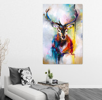 Wholesale Canvas Paintings For Christmas - Nordic Christmas Decorations Colored Drawing Deer Oil Painting Printed On Canvas Wall Art Posters Canvas Painting For Living Room Frameless