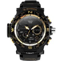 SMAEL Mens Sports Alarm Backlight Waterproof Auto Date Dual Display Analog Watch