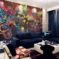 yatak odası dekor fotoğrafları toptan satış-Hayat ağacı Fotoğraf kağıdı Psychedelic Duvar Kağıdı Özel 3D Duvar resmi Sanatı Yatak Odası Yatak Odası Bar Dükkanı Odası dekor Doğal sahne