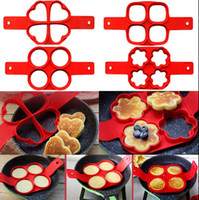 Wholesale Silicone Egg Rings - Silicone Pancake Mold Pancake Pan Flip NonStick 4 Cavity Heart Round Flipping Pancake Mold Breakfast Maker Egg Omelette Tools OOA1476