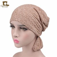 Wholesale Turban Hot Women - Hot sale 2017 New Women cotton Chemo Hat stretchy Beanie headscarf Turban Headwear for Cancer Patients