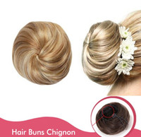 Wholesale Extension Chignon - Sara Woman Fashion Bride chignon Buns Donut Roller Hair Bun Extension Hairpieces 10*6CM Clip-in Toupee Toupe Hair Synthetic Hair Buns