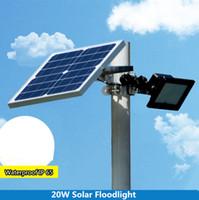 ingrosso proiettore del sensore di luce-20Watt Solar Powered Outdoor Luci da giardino 120 LED Remote Sensor Solar Proiettori Faretti Lampadine solari YK-S5R