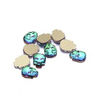 Wholesale skull nail designs - Nail Rhinestones 500pcs Little Skull Head Design Glass Stone For Nail Decorations Flatback Nail Stickers DIY Craft Stones