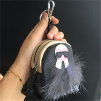 Wholesale Trendy New Backpack - Black Gold-New Real Fur Karl Lafayette Monster Mini Backpack Coin Purse Bag Charm keychain