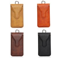 Wholesale Double Hook Clip - Wallet Case Double Pockets Universal Leather CellPhone Bag Outdoor Phone Pouch Hook Loop Belt Holster For Two Phones Between 4.7-5.5 inch