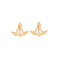 Wholesale Earring Fireworks - Rhombus Stud Earrings Gold Silver Color Asymmetric Geometry Bloom Fireworks Ear Jackets Women Sister Girl Mom Modern Cool Jewelry